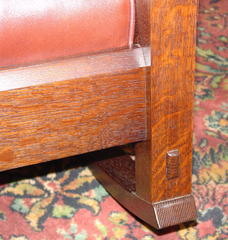 Detail of thru-tenon joinery at front leg and bevel at top of front seat rail.